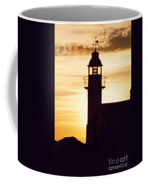 Serene Coffee Mug featuring the photograph Lighthouse At Sunset by Mary Mikawoz