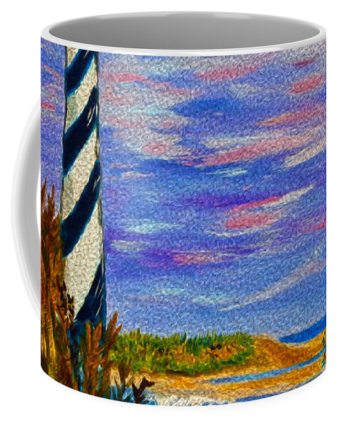 Lighthouse Coffee Mug featuring the painting Lighthouse- Impressionism- The Coast by Kathy Symonds