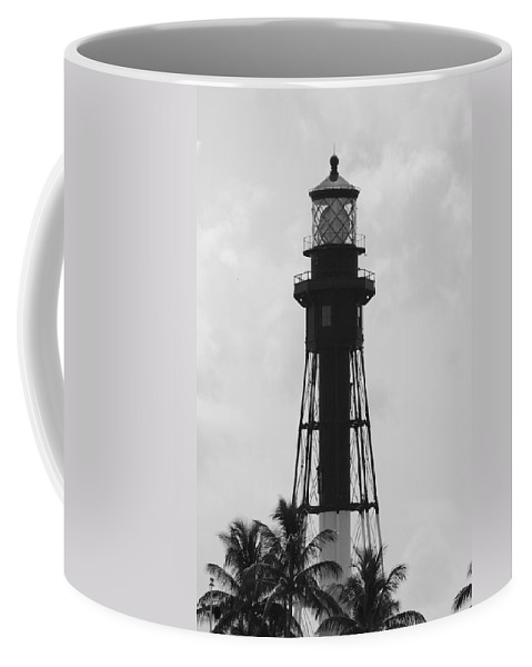 Landscape Coffee Mug featuring the photograph Lighthouse In Black And White by Rob Hans
