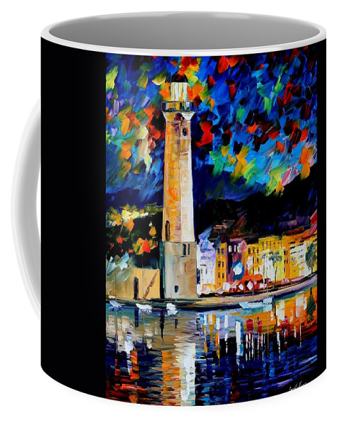 Art Gallery Coffee Mug featuring the painting Lighthouse In Crete - Palette Knife Oil Painting On Canvas By Leonid Afremov by Leonid Afremov