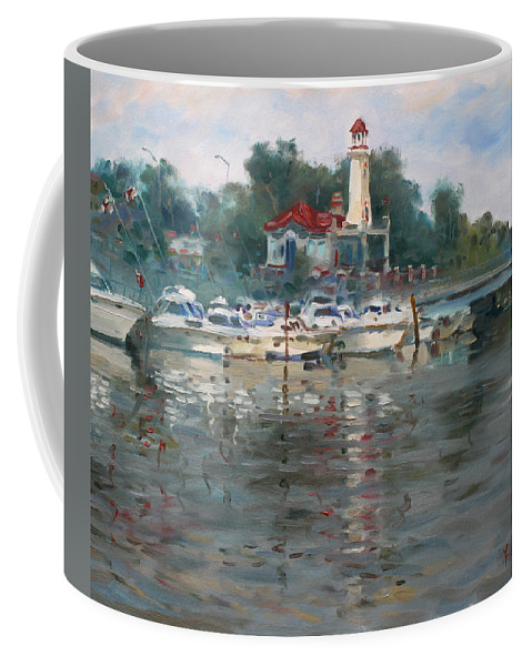Lake Coffee Mug featuring the painting Lighthouse In Lake Shore Mississauga by Ylli Haruni