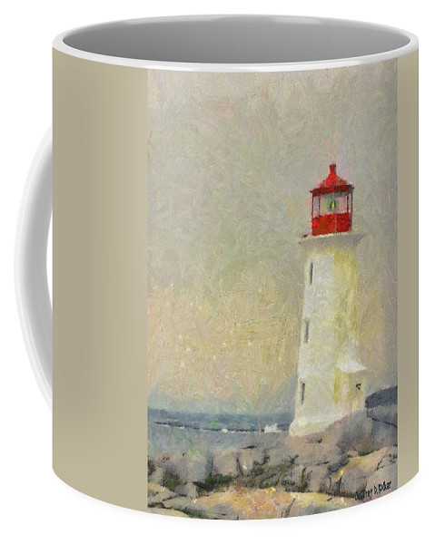 Canadian Coffee Mug featuring the painting Lighthouse by Jeffrey Kolker