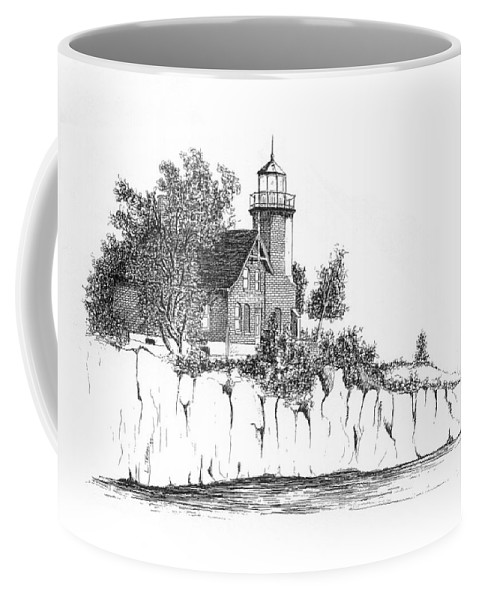 Lighthouse Coffee Mug featuring the drawing Lighthouse by Lawrence Tripoli