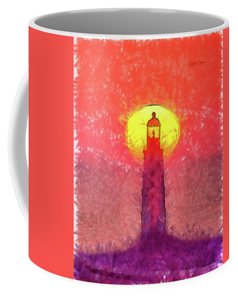 Lighthouse Coffee Mug featuring the painting Lighthouse by Leonardo Digenio
