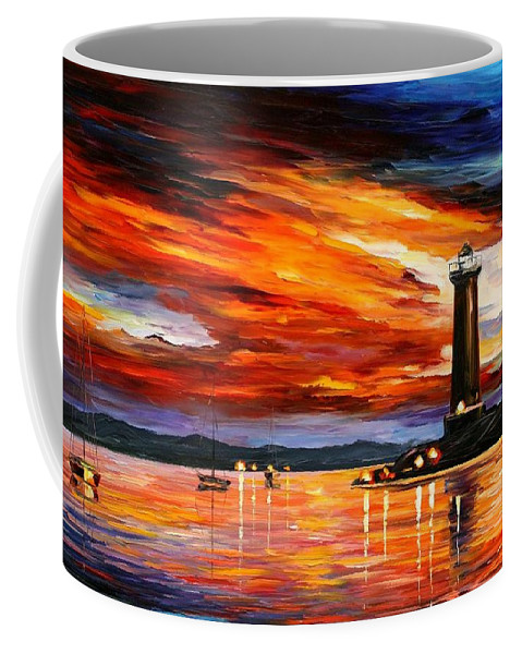 Afremov Coffee Mug featuring the painting Lighthouse by Leonid Afremov