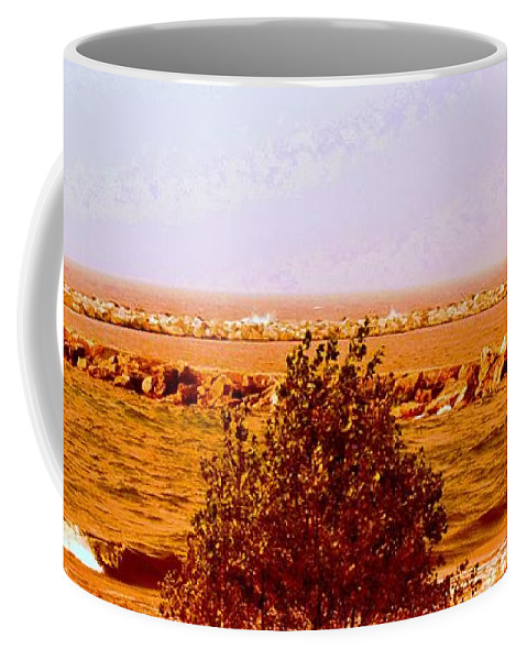 Coffee Mug featuring the photograph Lighthouse Manistique Retro Pano by Daniel Thompson