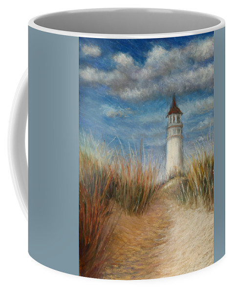 Landscape Coffee Mug featuring the painting Lighthouse On A Hill by Susan Jenkins