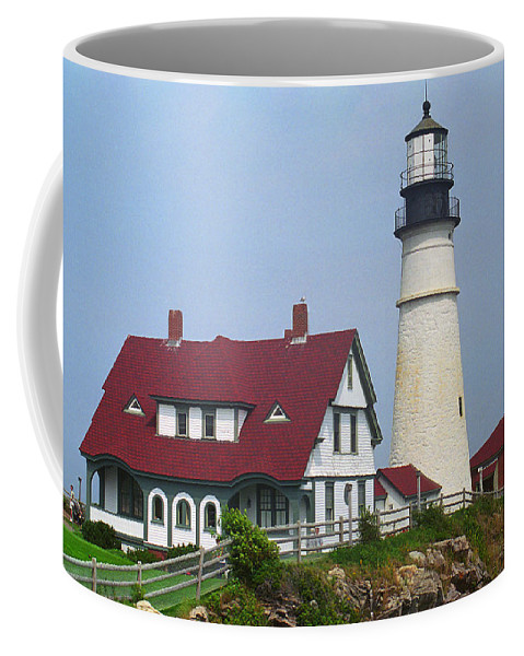 America Coffee Mug featuring the photograph Lighthouse - Portland Head Maine by Frank Romeo