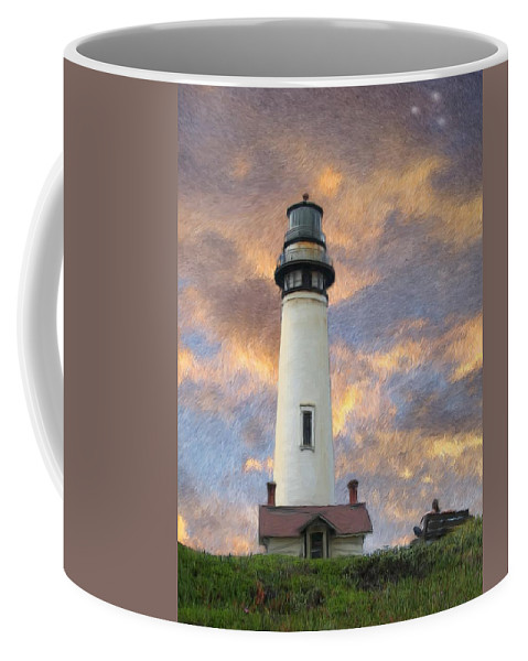 Lighthouse Art Coffee Mug featuring the digital art Lighthouse Visitors by Snake Jagger