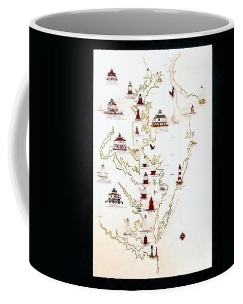 Chesapeake Bay Coffee Mug featuring the digital art Lighthouses Of The Chesapeake Bay by Myrna McGrath