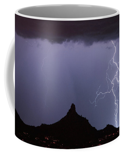 Arizona Coffee Mug featuring the photograph Lightnin At Pinnacle Peak Scottsdale Arizona by James BO Insogna
