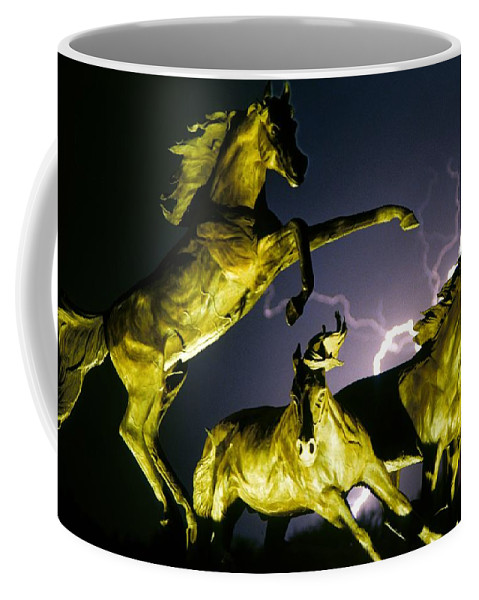 Lightning Coffee Mug featuring the photograph Lightning At Horse World Fine Art Print by James BO Insogna