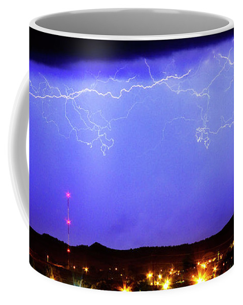Loveland Coffee Mug featuring the photograph Lightning Over Loveland Colorado Foothills Panorama by James BO Insogna