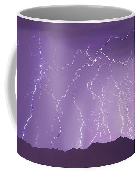 Lightning Coffee Mug featuring the photograph Lightning Over The Mountains by James BO Insogna