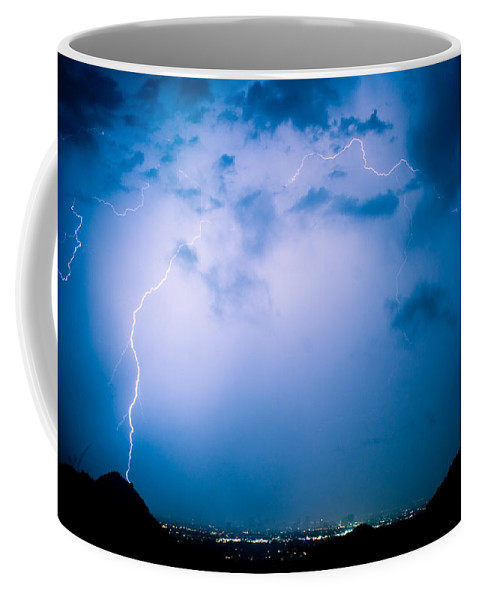 Lightning Coffee Mug featuring the photograph Lightning Rainbow Blues by James BO Insogna