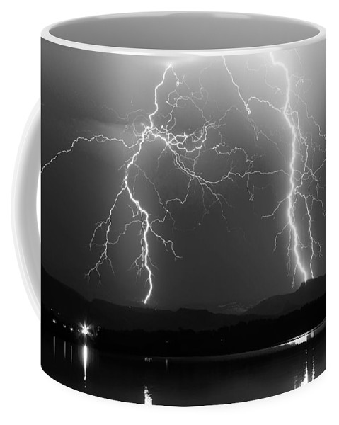 Lightning Coffee Mug featuring the photograph Lightning Storm 08.05.09 Bw by James BO Insogna