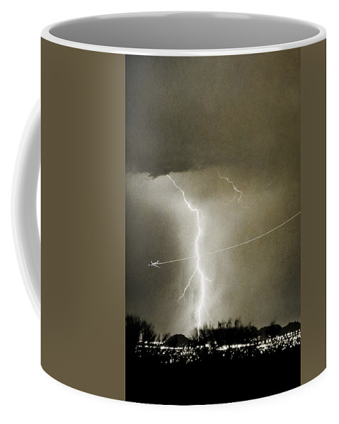 Lightning Coffee Mug featuring the photograph Lightning Storm City Lights Jet Airplane Fine Art Photography by James BO Insogna