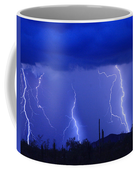Lightning Coffee Mug featuring the photograph Lightning Storm In The Desert Fine Art Photography Print by James BO Insogna
