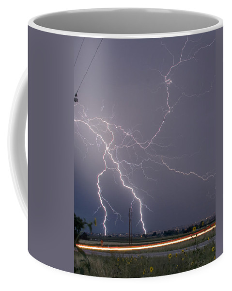Lightning Coffee Mug featuring the photograph Lightning Storm Power Lines Car Trails by James BO Insogna