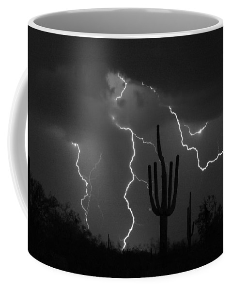 Saguaro Coffee Mug featuring the photograph Lightning Storm Saguaro Fine Art BW Photography by James BO Insogna