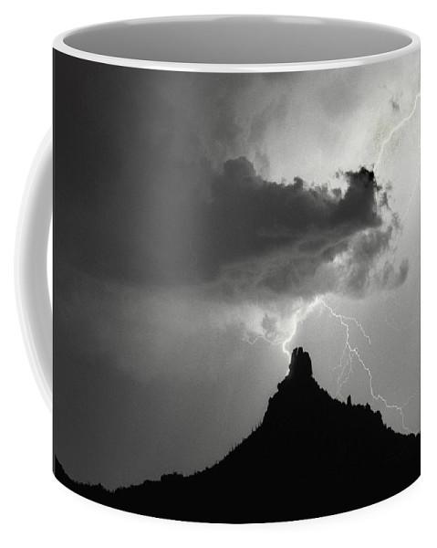 Pinnacle Peak Coffee Mug featuring the photograph Lightning Striking Pinnacle Peak Arizona by James BO Insogna