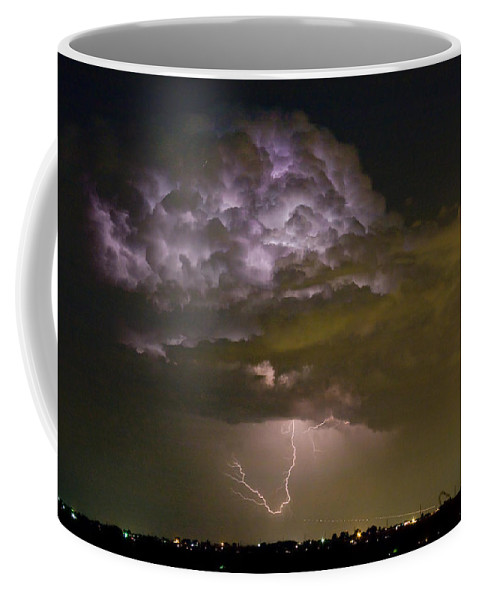 Striking Coffee Mug featuring the photograph Lightning Thunderstorm With A Hook by James BO Insogna