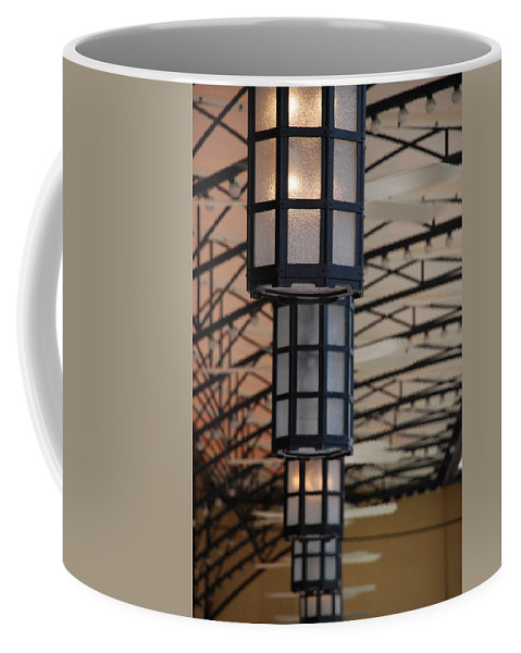 Architecture Coffee Mug featuring the photograph Lights At City Place by Rob Hans