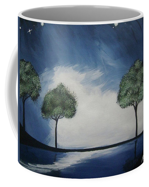 Midnight Coffee Mug featuring the painting Lights At Midnight by Katie Slaby