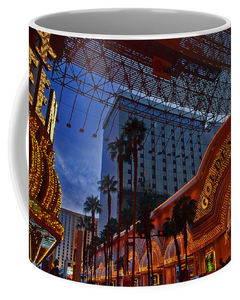 Photography Coffee Mug featuring the photograph Lights In Down Town Las Vegas by Susanne Van Hulst