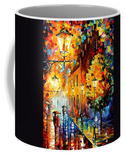 Afremov Coffee Mug featuring the painting Lights In The Night by Leonid Afremov