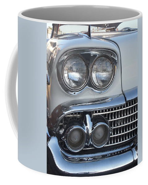 Chevy Coffee Mug featuring the photograph Lights On A '58 Chevy by Mike Niday