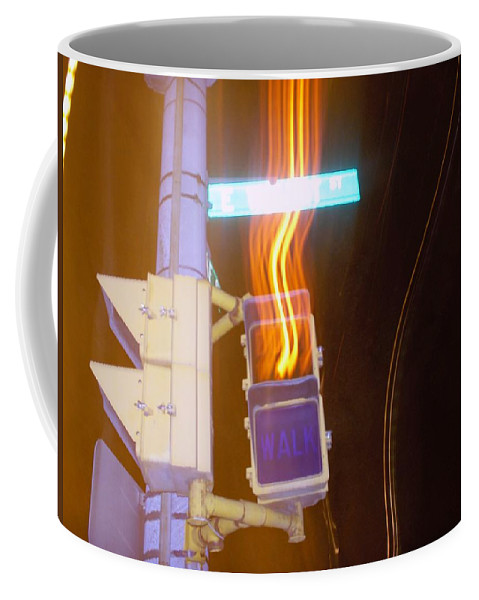 Photograph Coffee Mug featuring the photograph Lights That Eat Do Not Walk Signals by Thomas Valentine