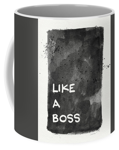 Like A Boss Coffee Mug featuring the painting Like A Boss- Black And White Art By Linda Woods by Linda Woods