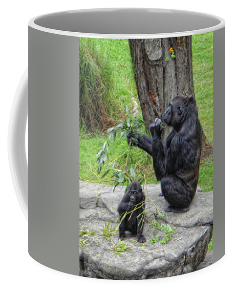 Gorrilla Coffee Mug featuring the photograph Like Mother Like Child by Donna Blackhall
