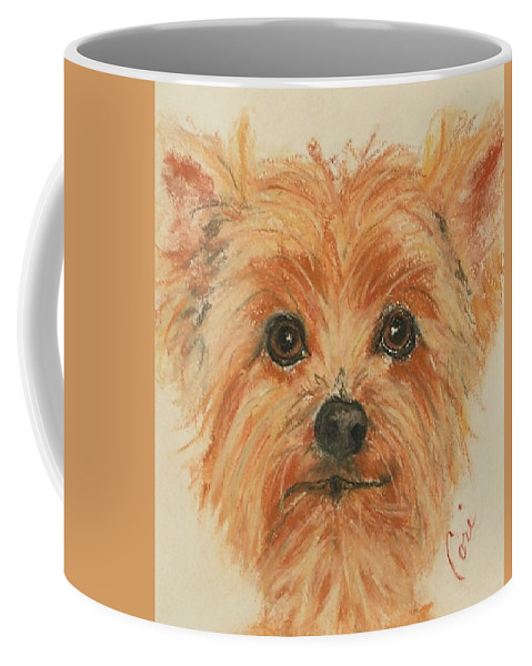 Pastel Coffee Mug featuring the drawing Lil Rascal by Cori Solomon