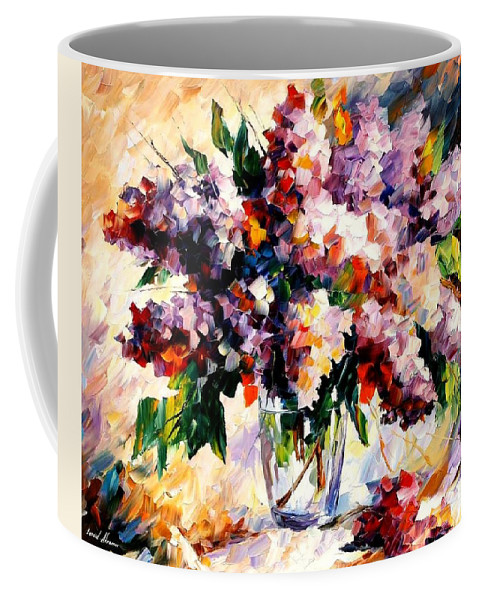 Afremov Coffee Mug featuring the painting Lilac - Morning Mood by Leonid Afremov