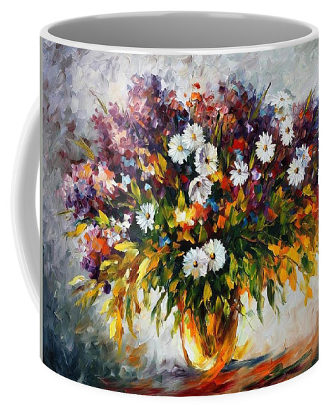 Afremov Coffee Mug featuring the painting Lilac And Camomiles by Leonid Afremov