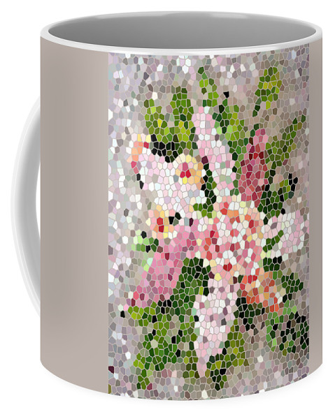 Lilac Bouquet In Stained Glass Coffee Mug featuring the digital art Lilac Bouquet II by Barbara Griffin