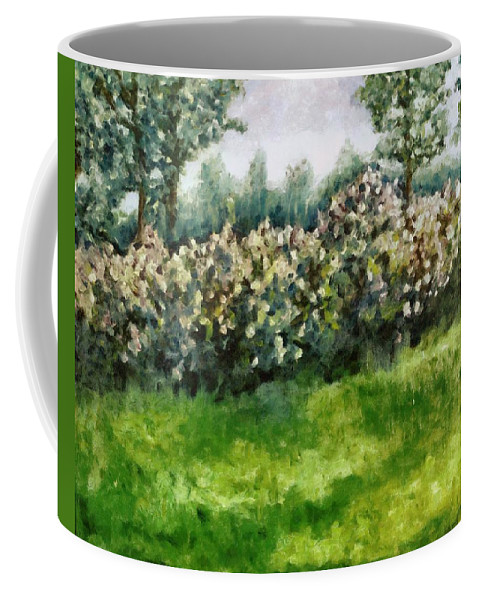 Spring Coffee Mug featuring the painting Lilac Bushes In Springtime by Michelle Calkins