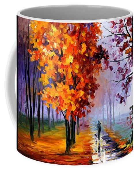 Afremov Coffee Mug featuring the painting Lilac Fog by Leonid Afremov