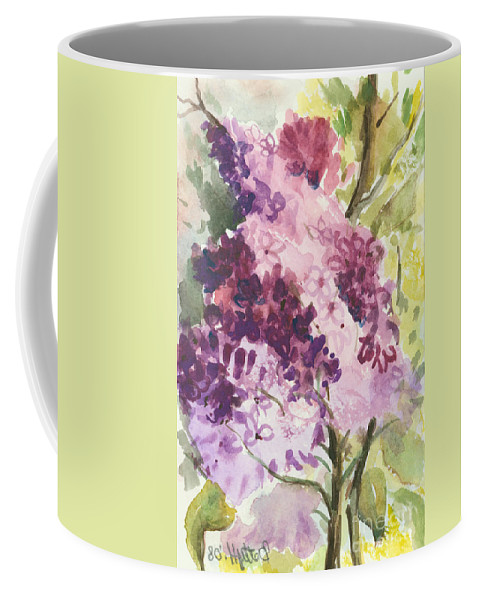 Original Coffee Mug featuring the painting Lilacs - Note Card by Elisabeta Hermann