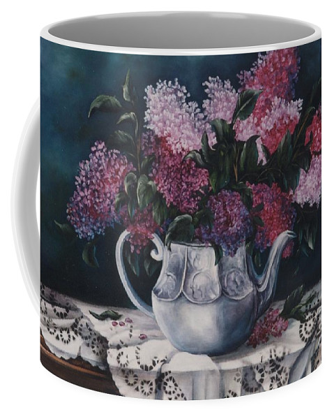 Lilacs Coffee Mug featuring the painting Lilacs And Lace by Jean Harrison