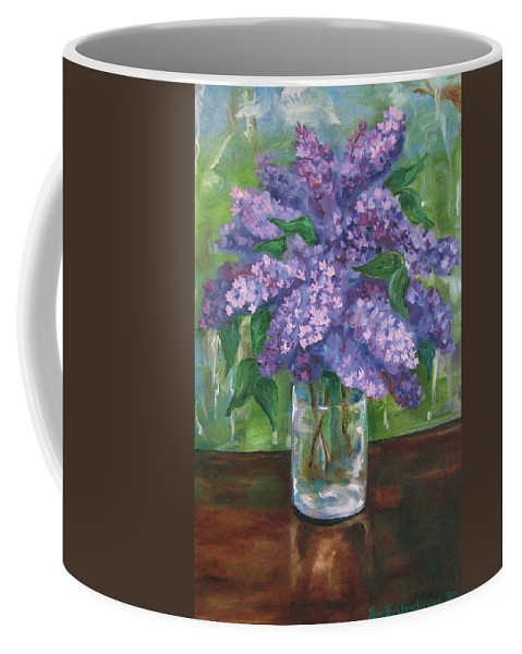 Lilacs Coffee Mug featuring the painting Lilacs by Jennifer Christenson