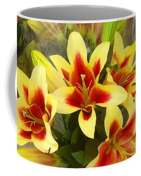 Spring Coffee Mug featuring the painting Lilies by Amy Vangsgard