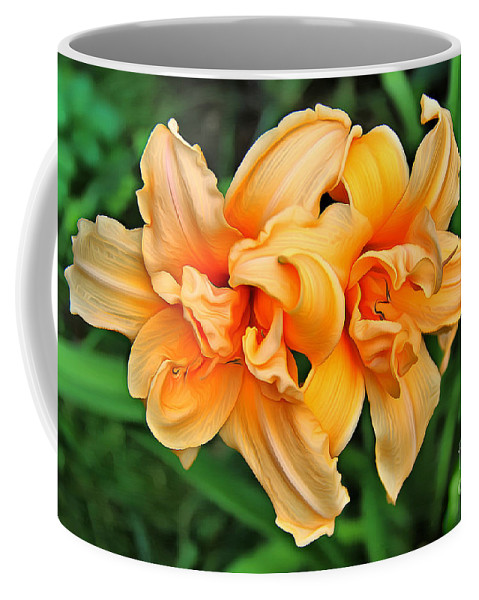 Orange Lily Coffee Mug featuring the digital art Lilies Collection - 1 by Sergey Lukashin
