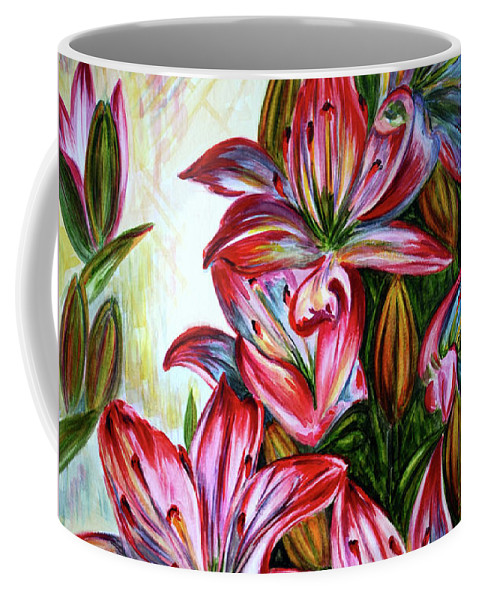 Lilies Coffee Mug featuring the painting Lilies by Harsh Malik