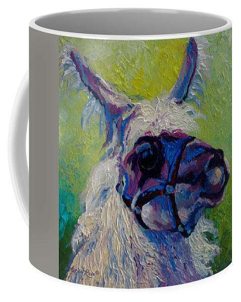 Llama Coffee Mug featuring the painting Lilloet - Llama by Marion Rose
