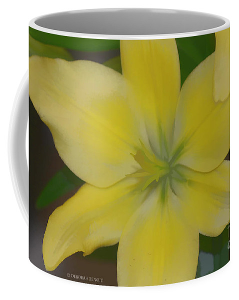 Lilly Coffee Mug featuring the photograph Lilly With Artistic Beauty by Deborah Benoit