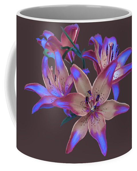 Flowers Coffee Mug featuring the painting Lily Flowers Blue Maroon by Susanna Katherine