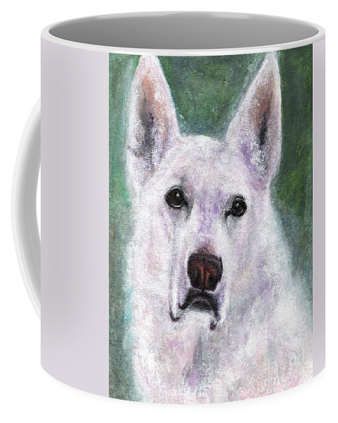 German Shepard Coffee Mug featuring the painting Lily by Frances Marino